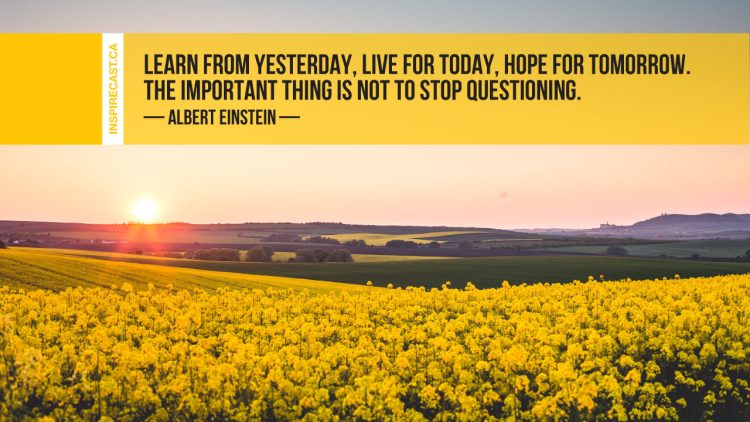 Learn from yesterday, live for today, hope for tomorrow. The important thing is not to stop questioning. ~ Albert Einstein
