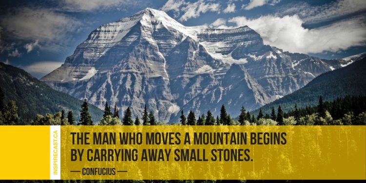 The man who moves a mountain begins by carrying away small stones. ~ Confucius