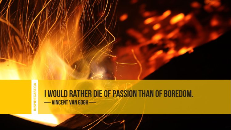 I would rather die of passion than of boredom. ~ Vincent Van Gogh