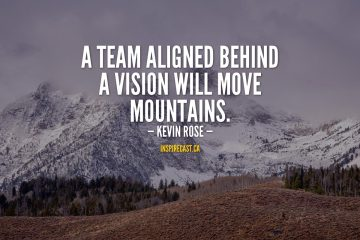 A team aligned behind a vision will move mountains. - Kevin Rose