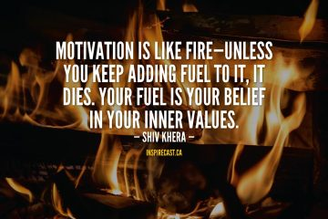 Motivation is like fire—unless you keep adding fuel to it, it dies. Your fuel is your belief in your inner values. - Shiv Khera